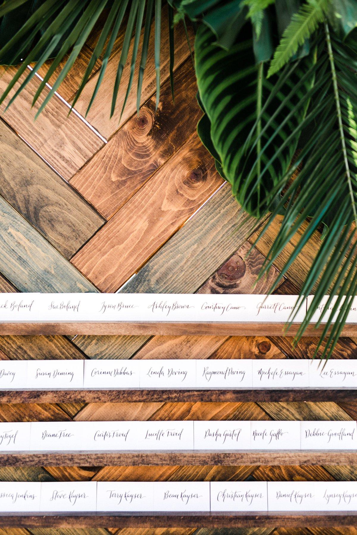 tropical wedding seating charts - photo by Anna Delores https://ruffledblog.com/chic-modern-wedding-at-four-seasons-santa-barbara