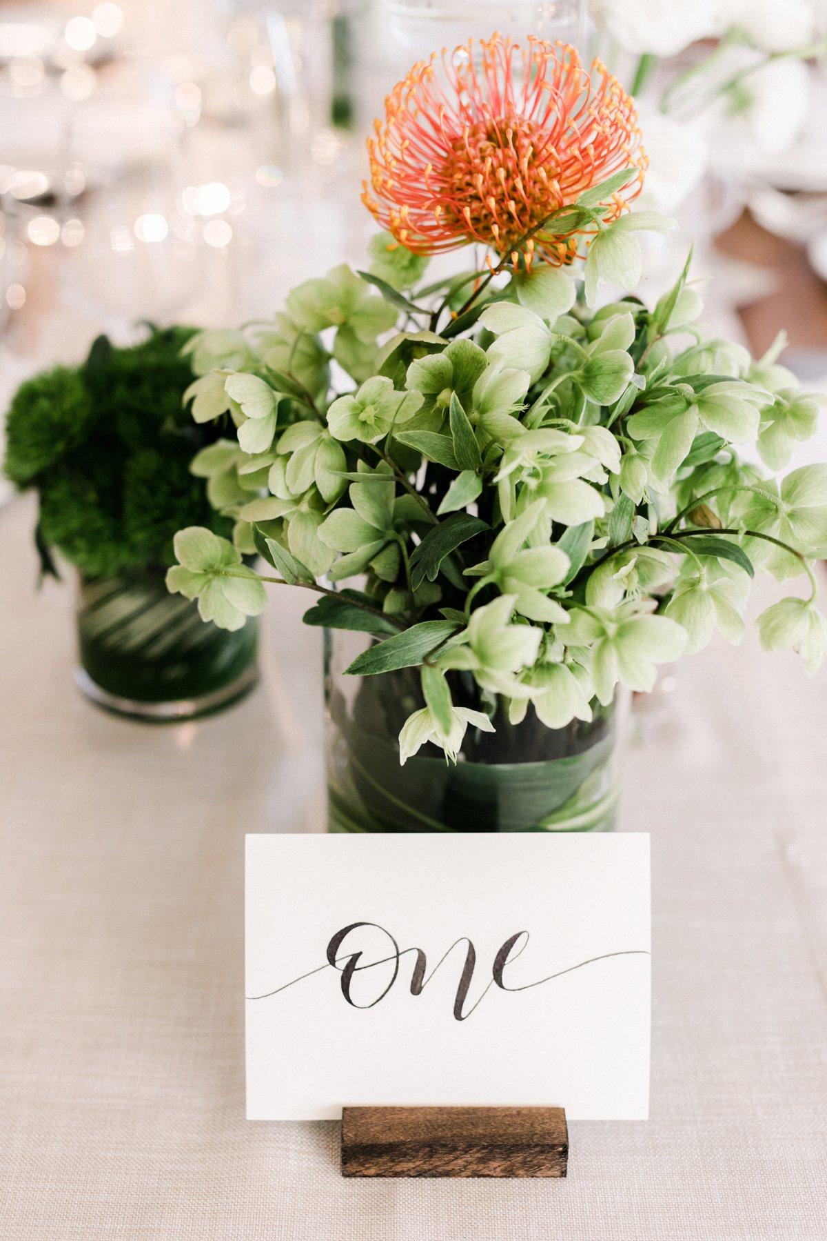 hydrangea and pincushion centerpieces - photo by Anna Delores http://ruffledblog.com/chic-modern-wedding-at-four-seasons-santa-barbara