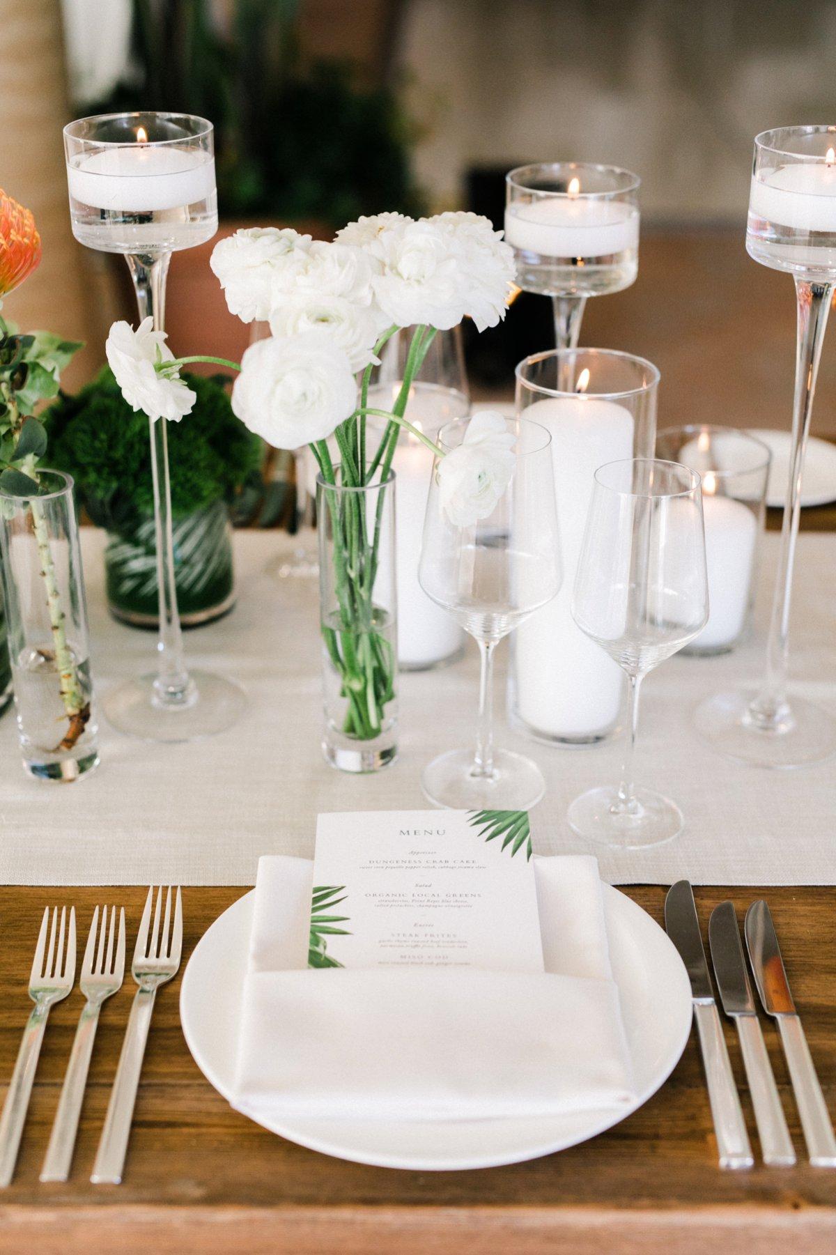 modern wedding reception tablescapes - photo by Anna Delores http://ruffledblog.com/chic-modern-wedding-at-four-seasons-santa-barbara