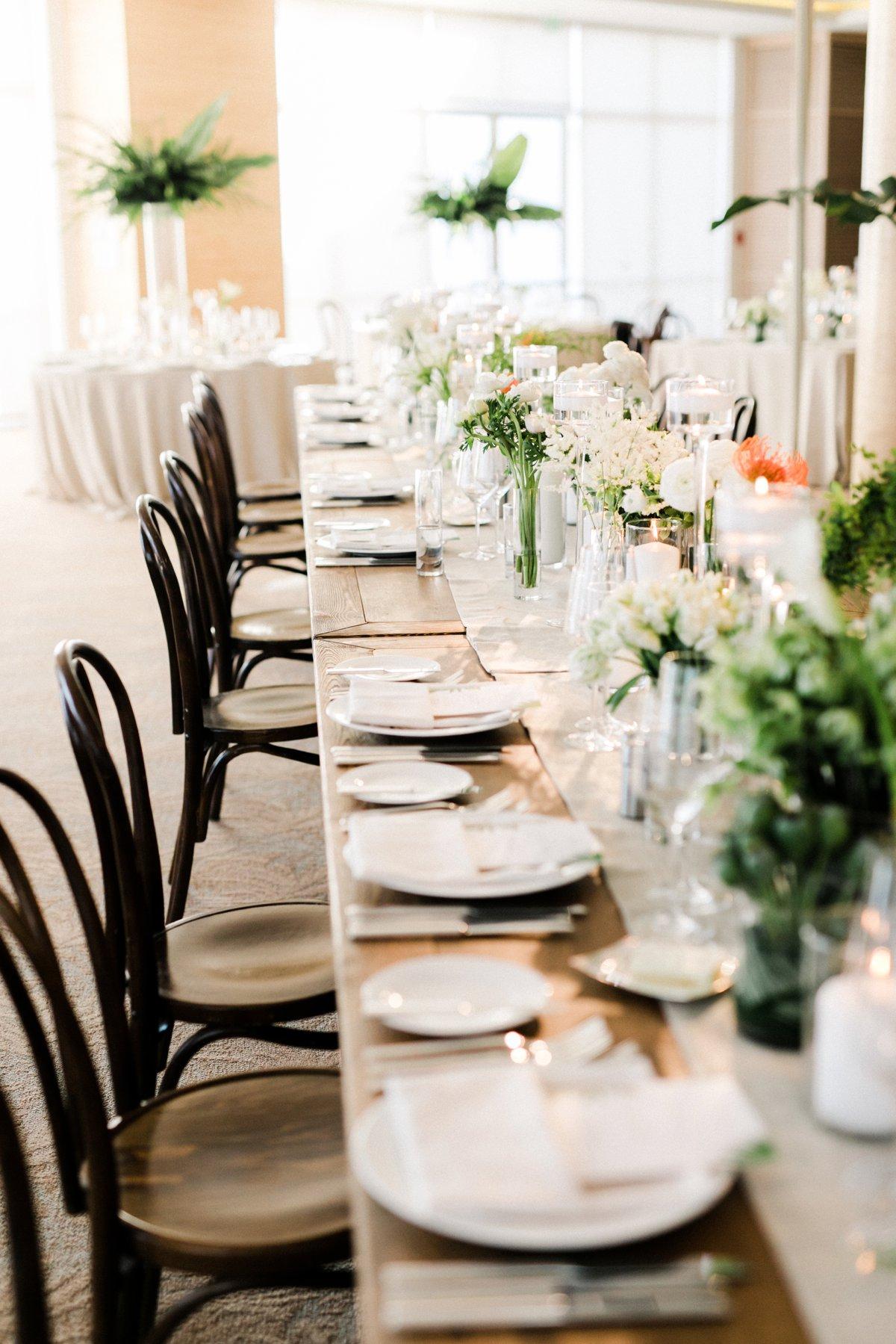 modern wedding tablescapes - photo by Anna Delores http://ruffledblog.com/chic-modern-wedding-at-four-seasons-santa-barbara