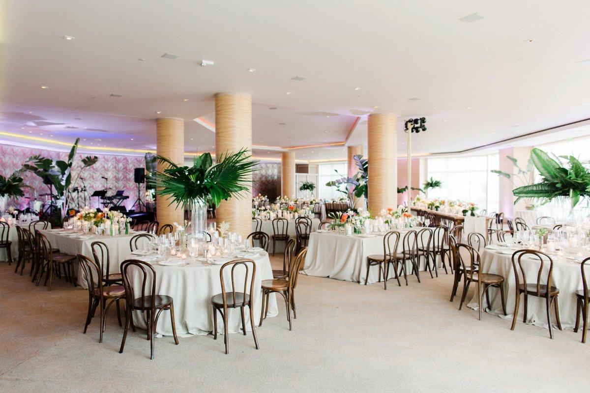 modern hotel wedding receptions - photo by Anna Delores http://ruffledblog.com/chic-modern-wedding-at-four-seasons-santa-barbara