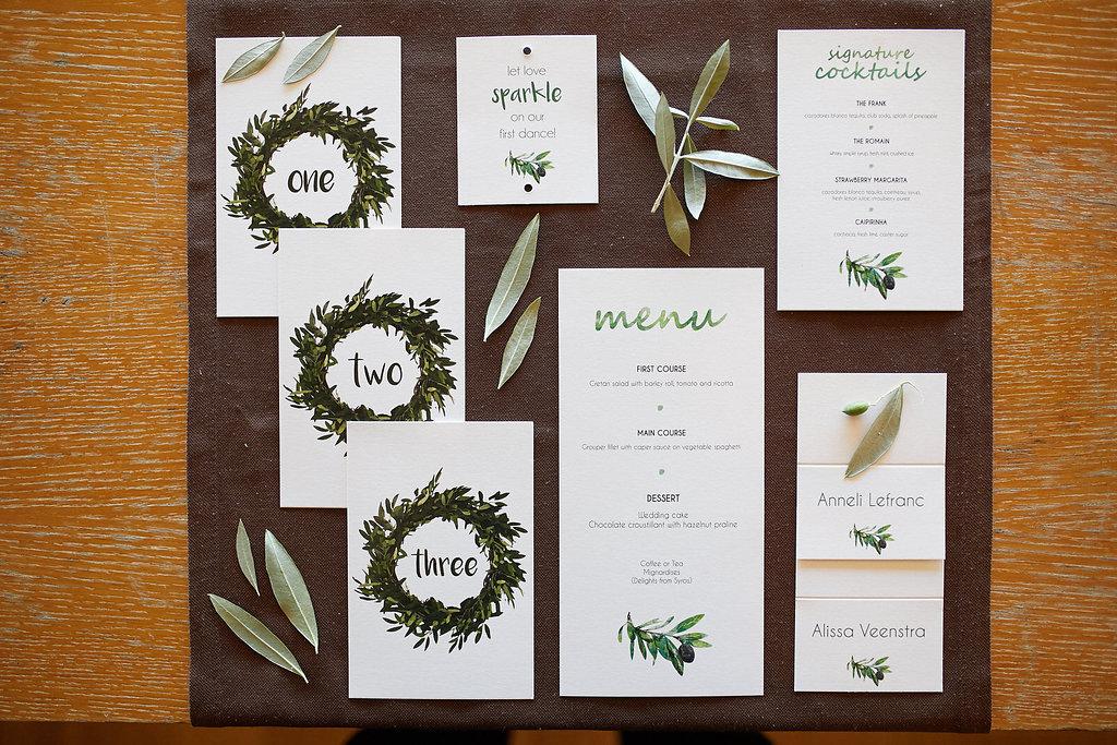 organic wedding stationery - photo by Sotiris Tsakanikas https://ruffledblog.com/chic-sunset-wedding-on-the-athens-riviera