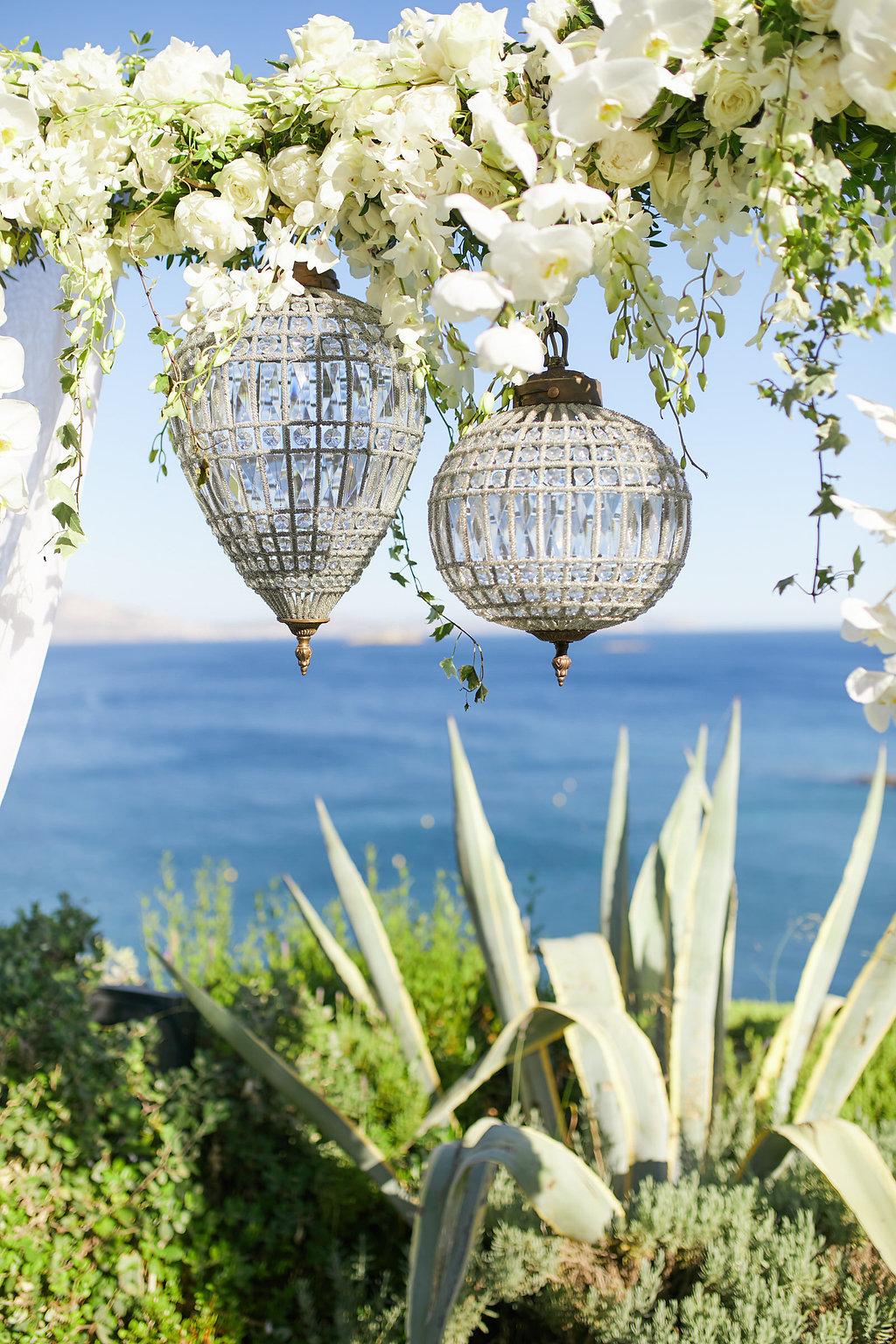 romantic wedding ceremony accents - photo by Sotiris Tsakanikas http://ruffledblog.com/chic-sunset-wedding-on-the-athens-riviera