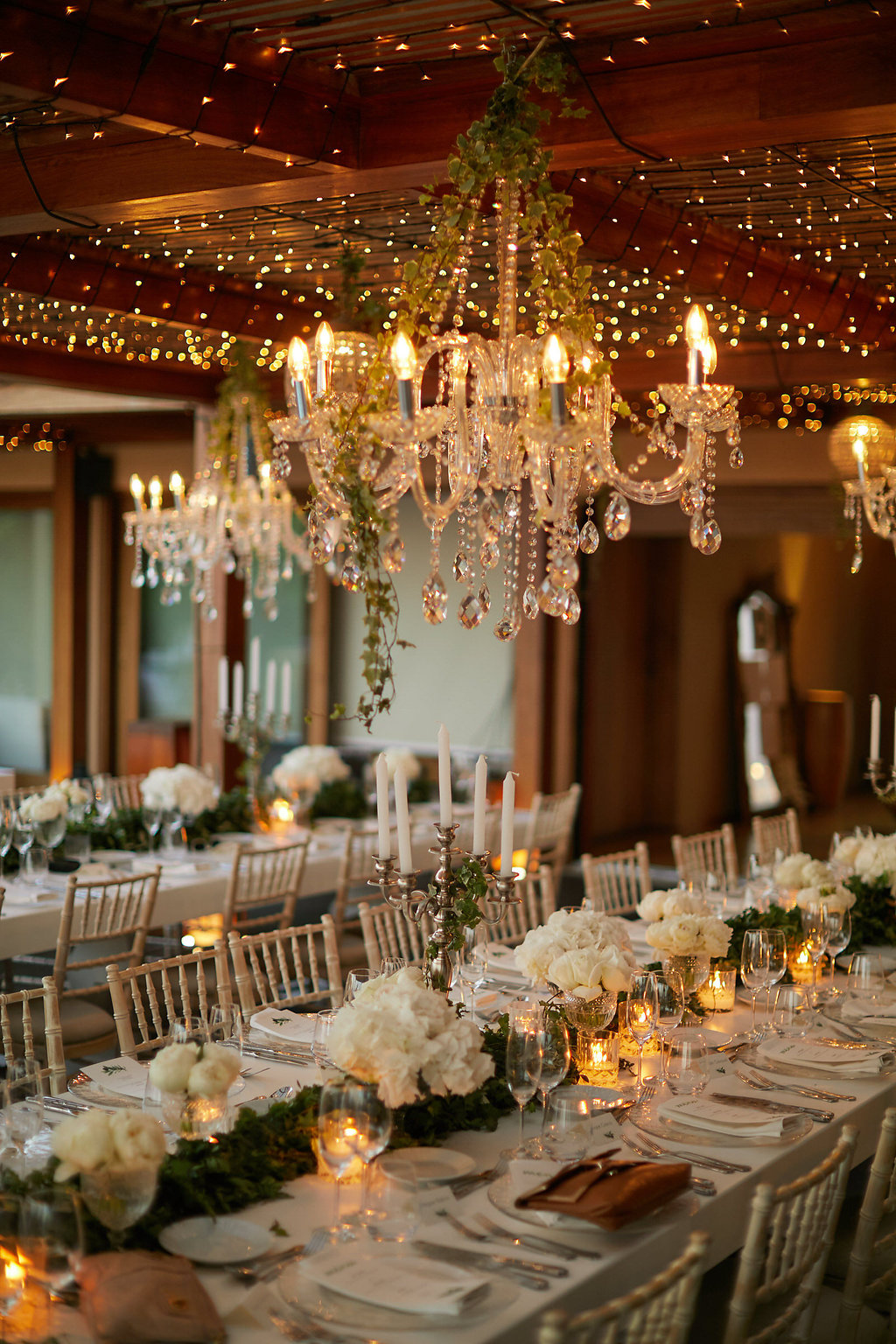 romantic fairy light weddings - photo by Sotiris Tsakanikas http://ruffledblog.com/chic-sunset-wedding-on-the-athens-riviera