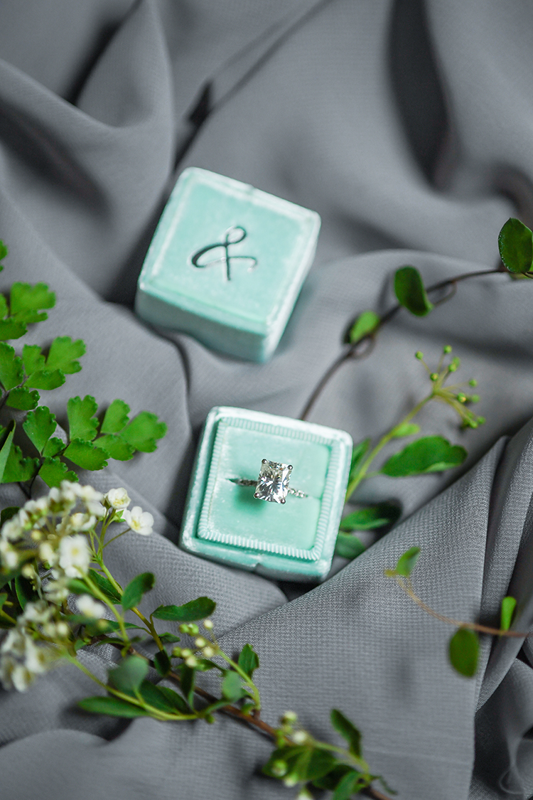 cushion cut engagement rings - photo by Kate Noelle Photography http://ruffledblog.com/chic-wedding-ideas-inspired-by-partly-cloudy-skies