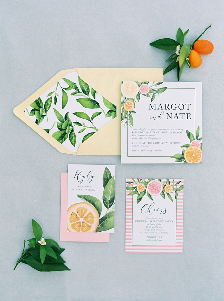 Citrus and Copper Orchard Wedding Inspiration - photo by Melissa Jill Photography http://ruffledblog.com/citrus-and-copper-orchard-wedding-inspiration