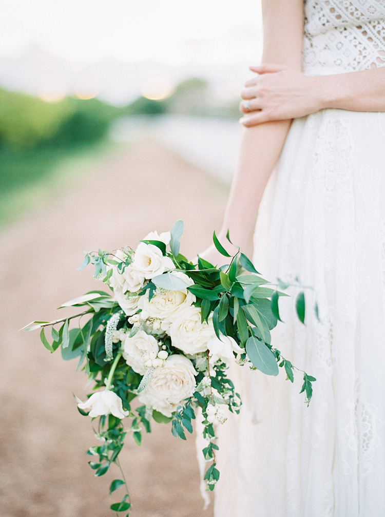white garden rose bouquets - photo by Melissa Jill Photography https://ruffledblog.com/citrus-and-copper-orchard-wedding-inspiration