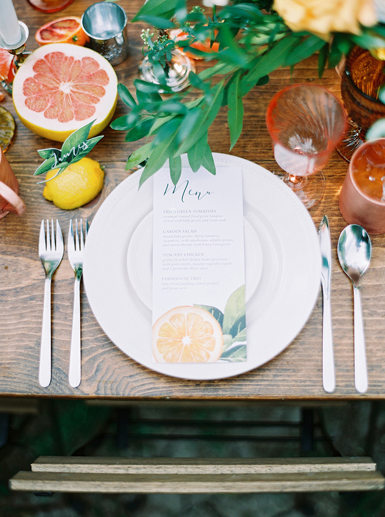 citrus themed weddings - photo by Melissa Jill Photography https://ruffledblog.com/citrus-and-copper-orchard-wedding-inspiration