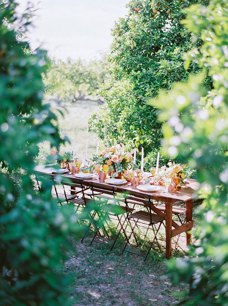 orchard weddings - photo by Melissa Jill Photography https://ruffledblog.com/citrus-and-copper-orchard-wedding-inspiration