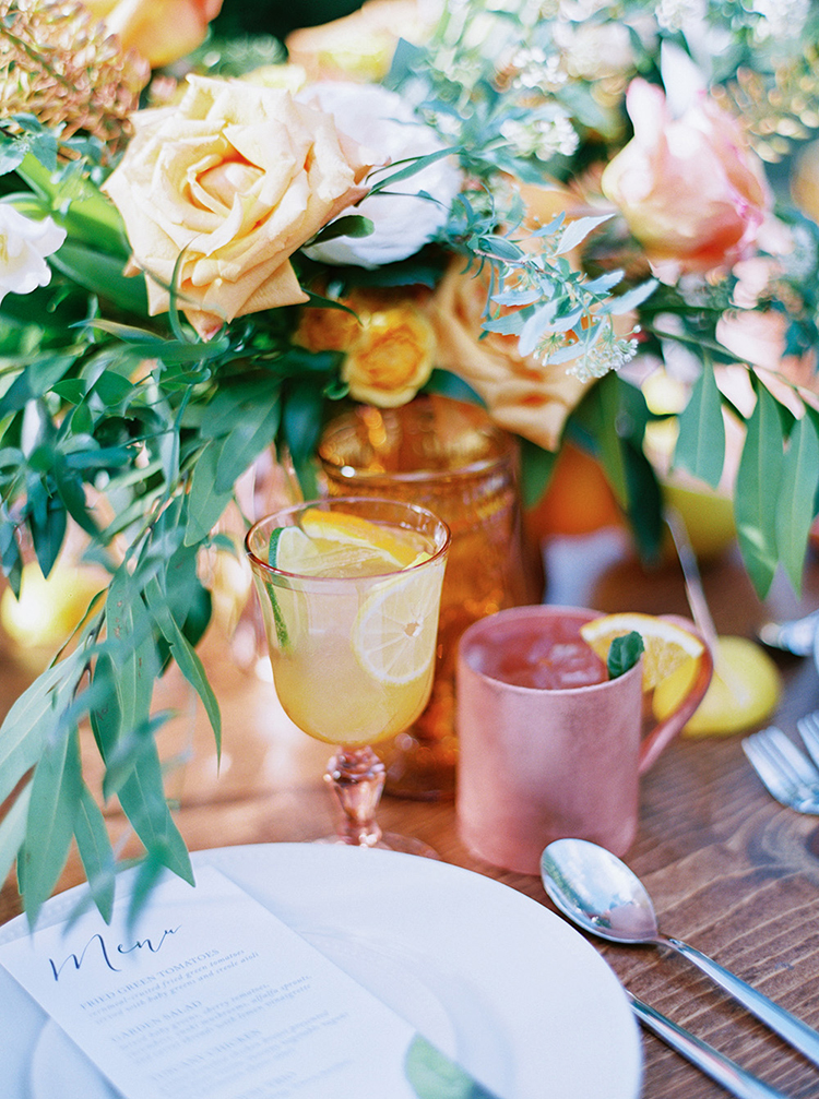 citrus wedding inspiration - photo by Melissa Jill Photography https://ruffledblog.com/citrus-and-copper-orchard-wedding-inspiration
