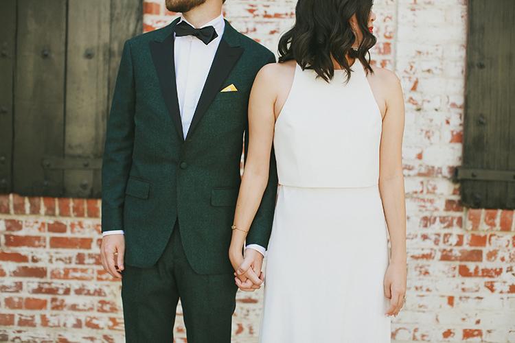 modern wedding fashion - photo by Kassia Phoy https://ruffledblog.com/citrus-hued-whimsical-wedding-with-paper-details