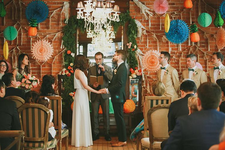 wedding ceremonies - photo by Kassia Phoy https://ruffledblog.com/citrus-hued-whimsical-wedding-with-paper-details