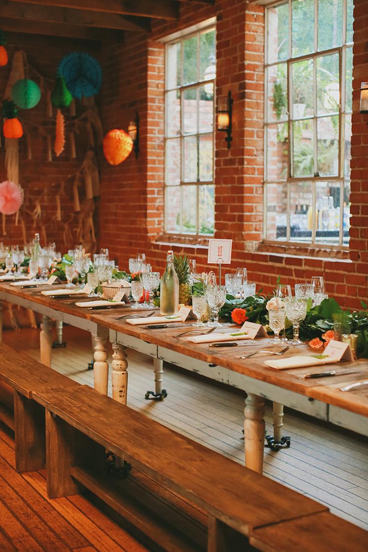 LA wedding receptions - photo by Kassia Phoy https://ruffledblog.com/citrus-hued-whimsical-wedding-with-paper-details