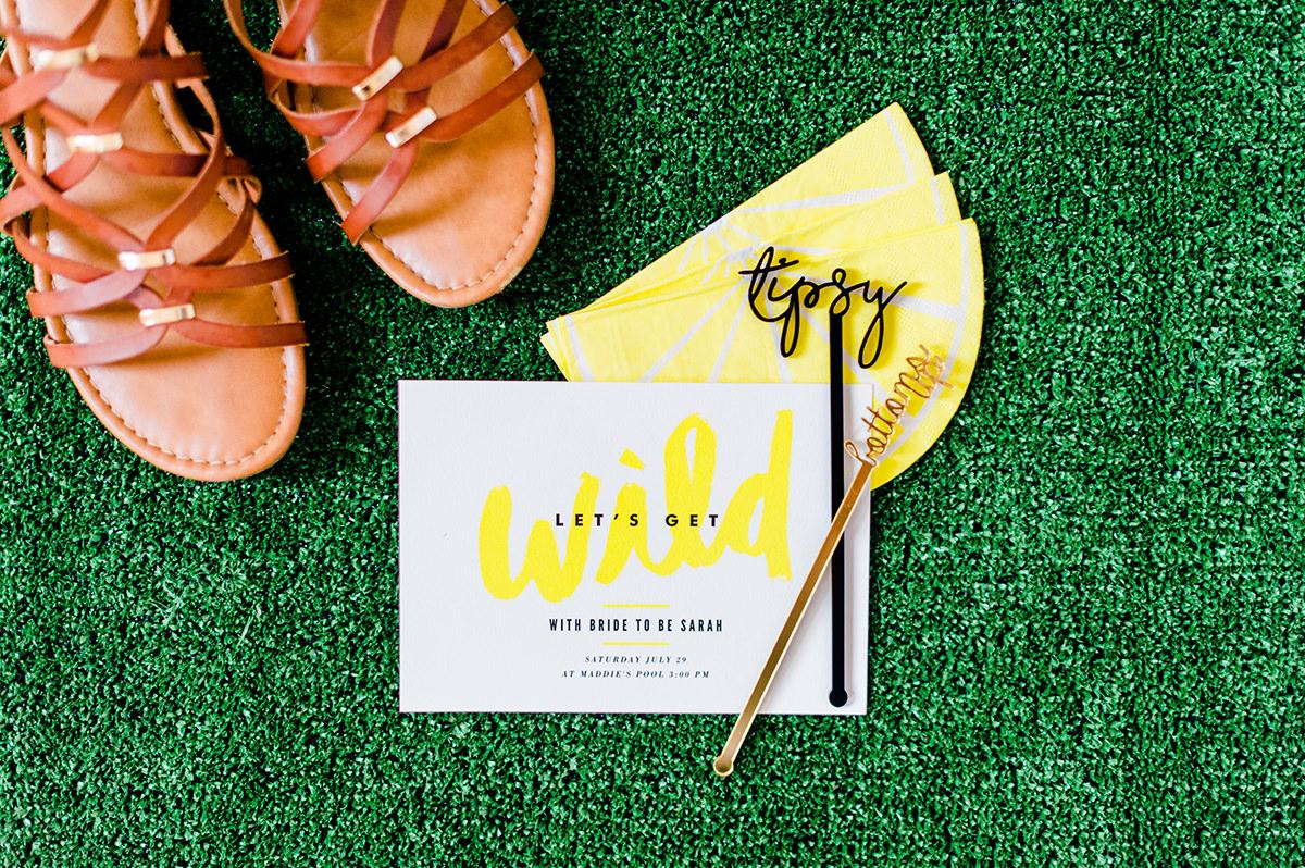modern party invitations - photo by Madison Short Photography https://ruffledblog.com/citrus-sunshine-bachelorette-party-inspiration