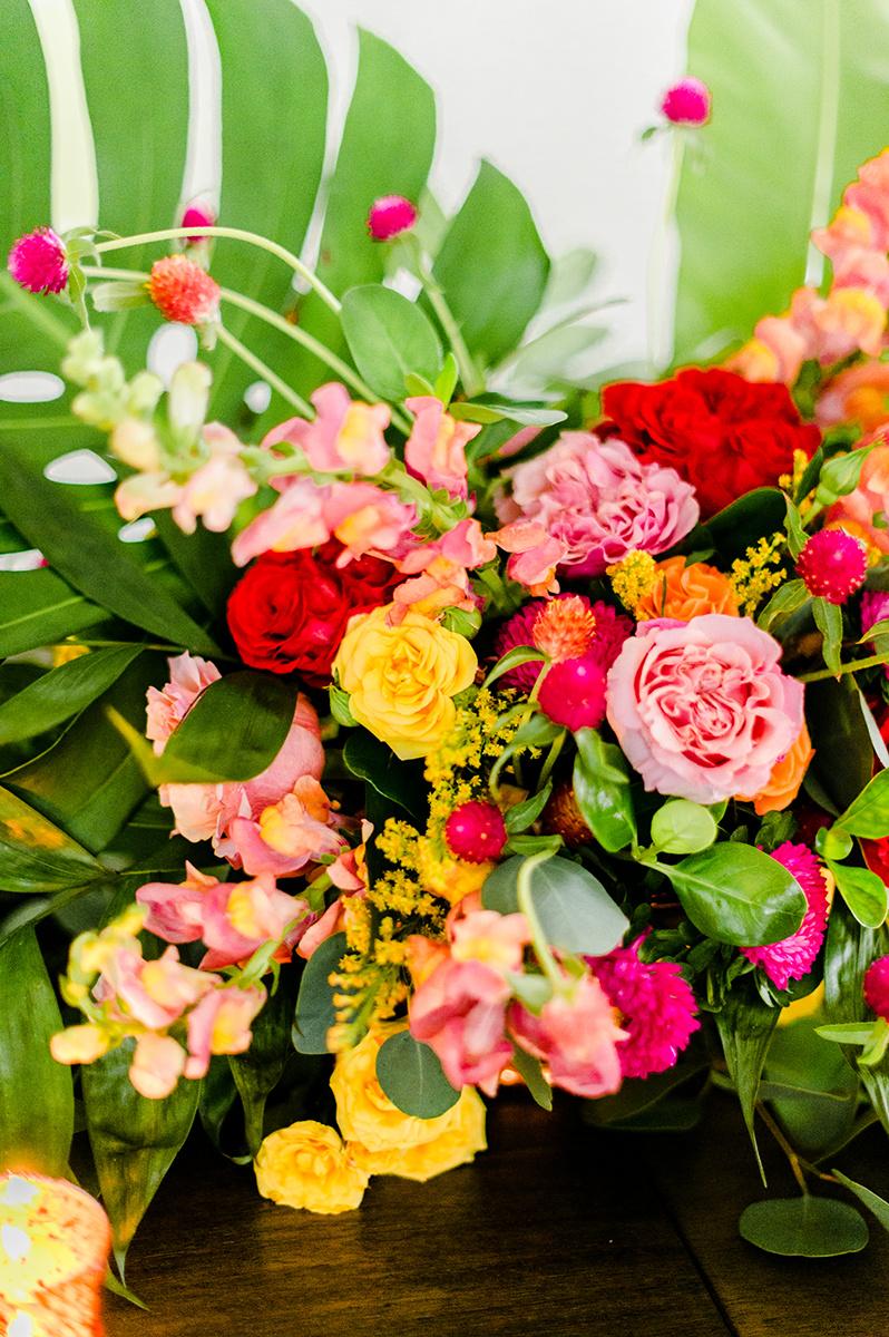 tropical wedding flowers - photo by Madison Short Photography http://ruffledblog.com/citrus-sunshine-bachelorette-party-inspiration