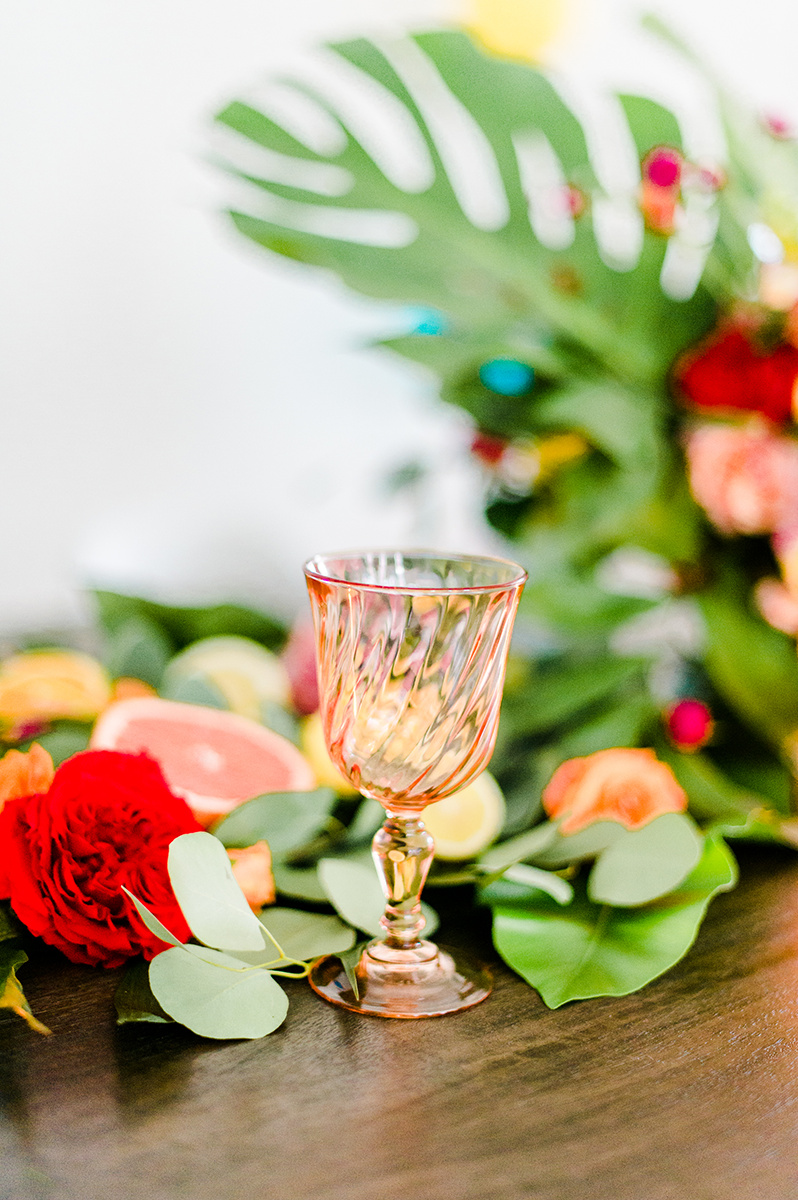 pink depression glass - photo by Madison Short Photography https://ruffledblog.com/citrus-sunshine-bachelorette-party-inspiration