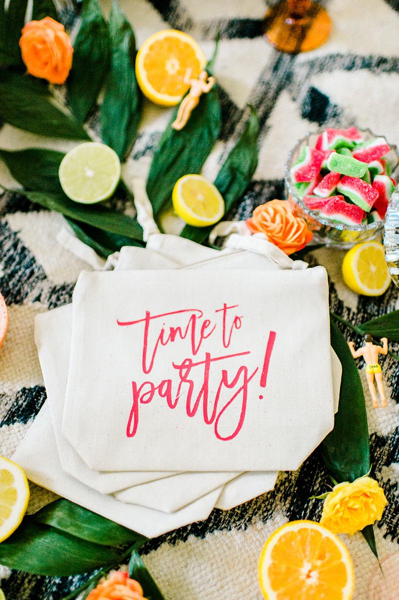 fun modern party inspiration - photo by Madison Short Photography https://ruffledblog.com/citrus-sunshine-bachelorette-party-inspiration