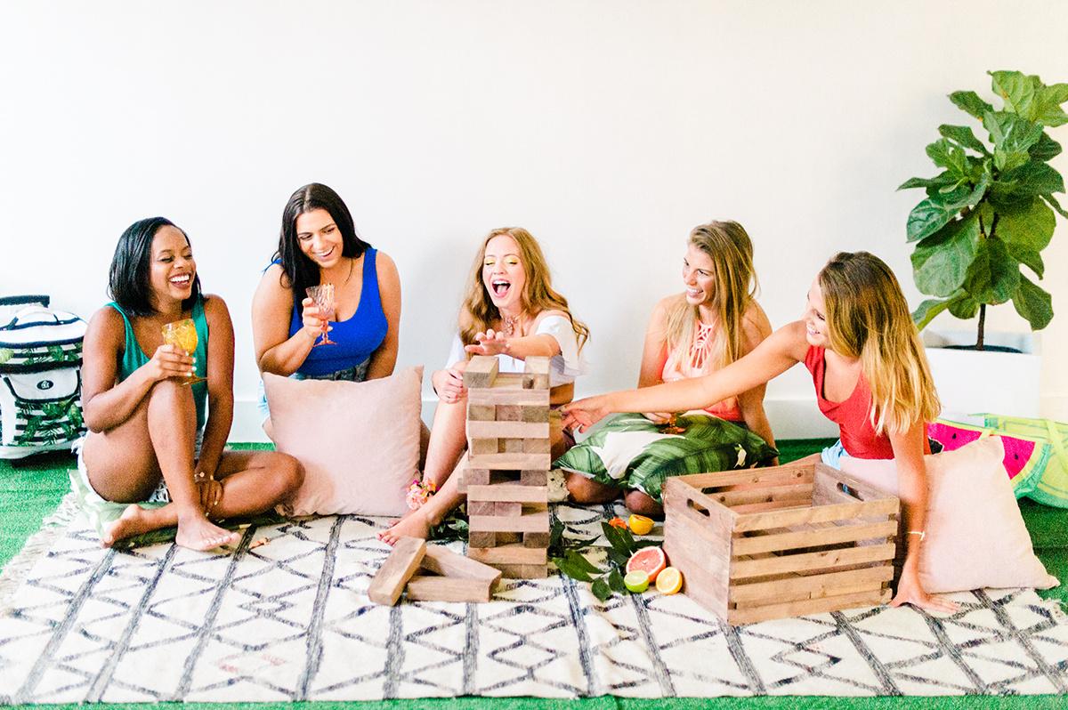 party games for bachelorettes - photo by Madison Short Photography https://ruffledblog.com/citrus-sunshine-bachelorette-party-inspiration