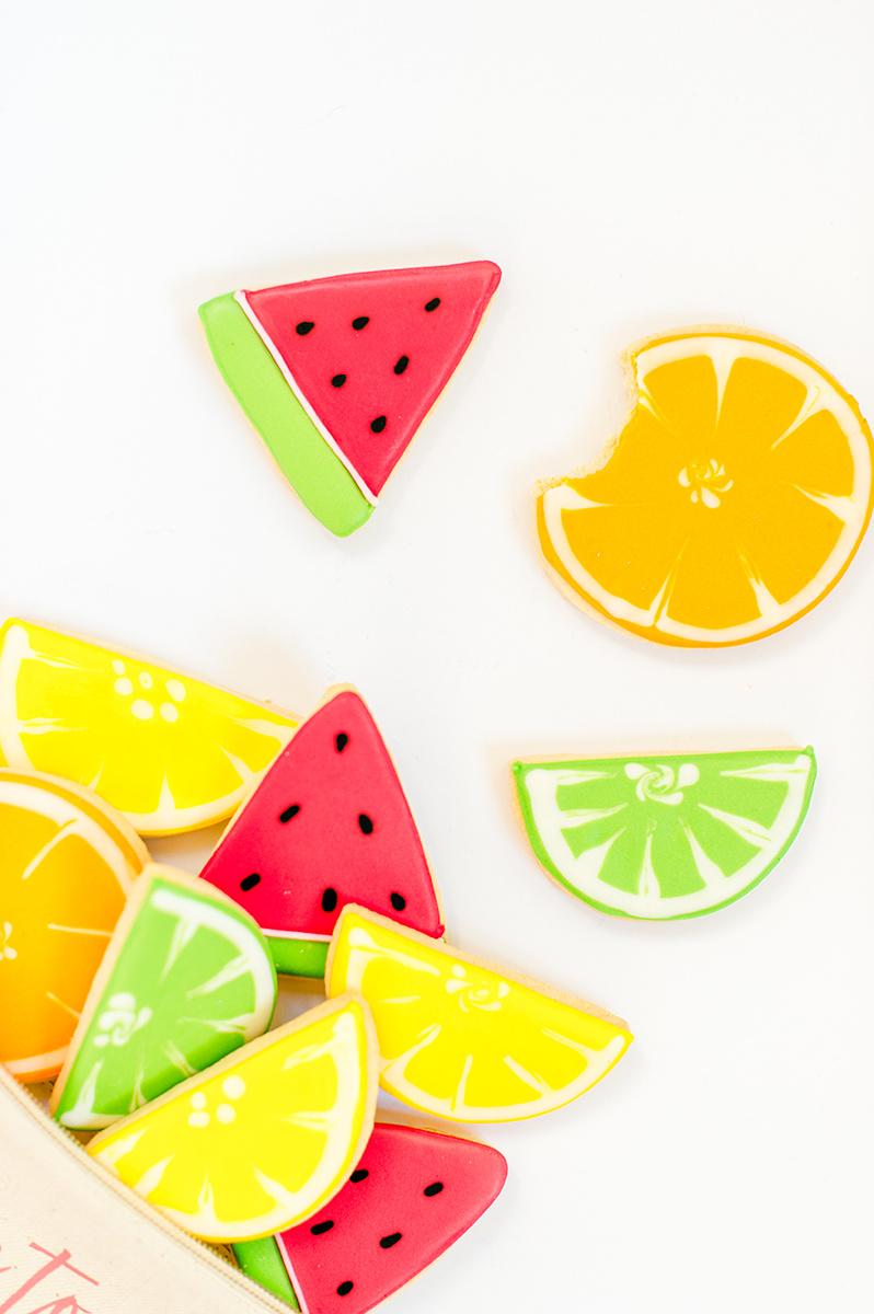 fun tropical cookies - photo by Madison Short Photography https://ruffledblog.com/citrus-sunshine-bachelorette-party-inspiration