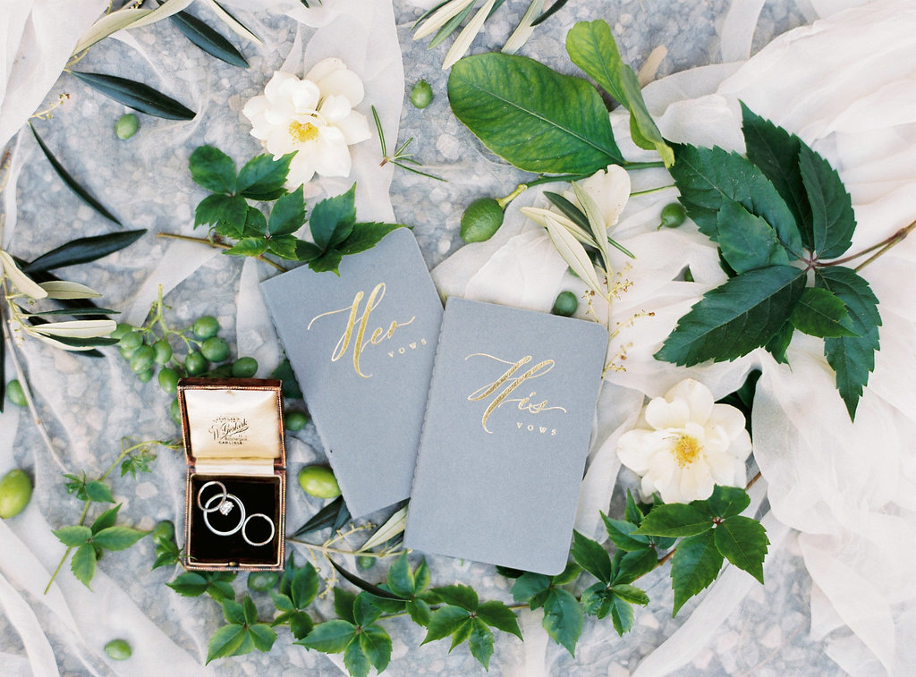 wedding vow books - photo by Katie Grant Photography http://ruffledblog.com/classically-beautiful-intimate-wedding-in-tuscany