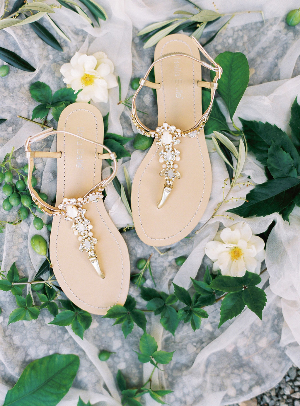 embellished wedding sandals - photo by Katie Grant Photography https://ruffledblog.com/classically-beautiful-intimate-wedding-in-tuscany