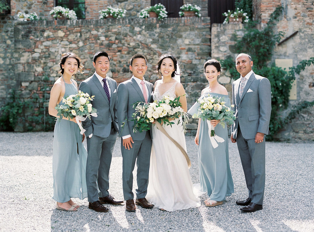 wedding party portraits - photo by Katie Grant Photography https://ruffledblog.com/classically-beautiful-intimate-wedding-in-tuscany