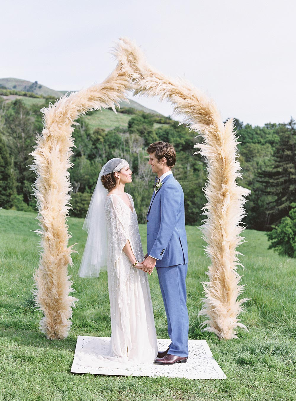 pampas grass wedding ceremony arch
