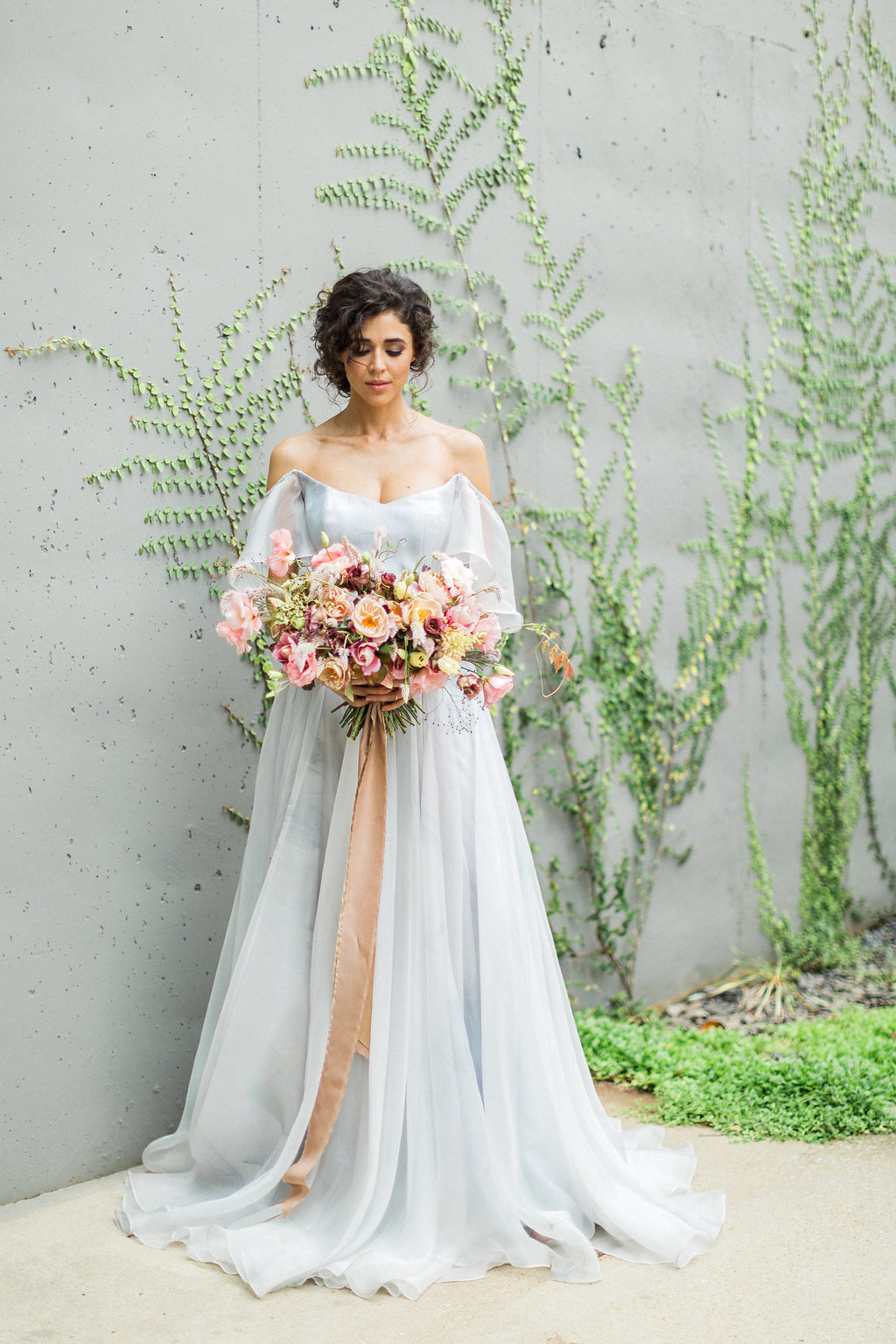 Cloudy Day Wedding Inspiration with a Hand Painted Bridal Gown - https://ruffledblog.com/cloudy-day-wedding-inspiration-with-a-hand-painted-bridal-gown