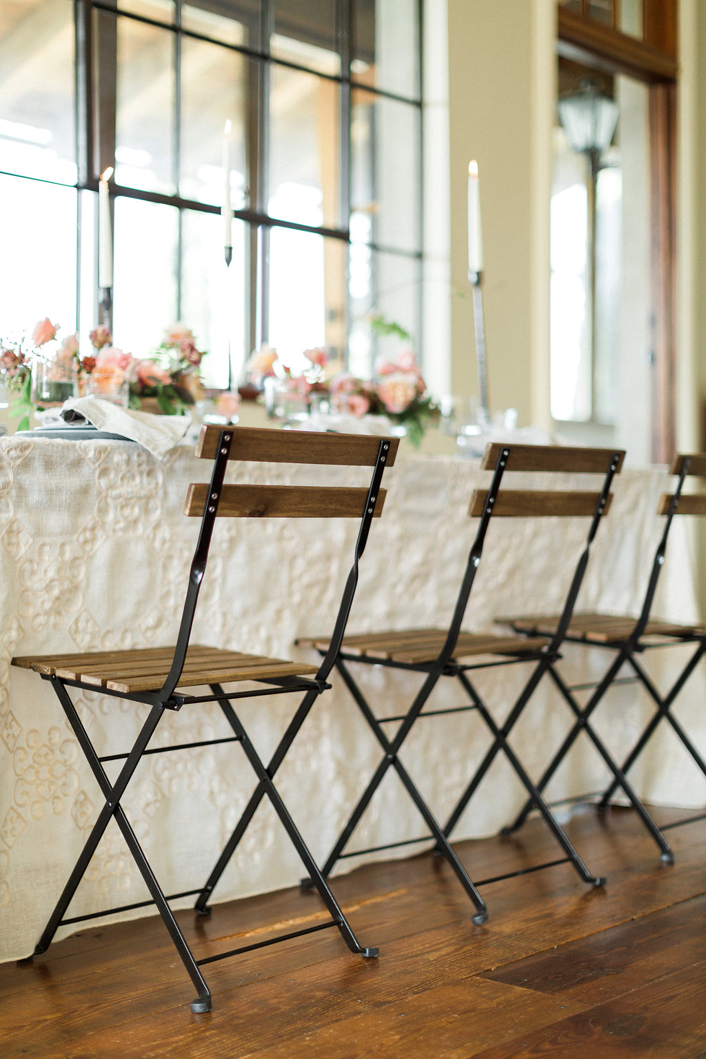 rustic organic wedding chairs - https://ruffledblog.com/cloudy-day-wedding-inspiration-with-a-hand-painted-bridal-gown