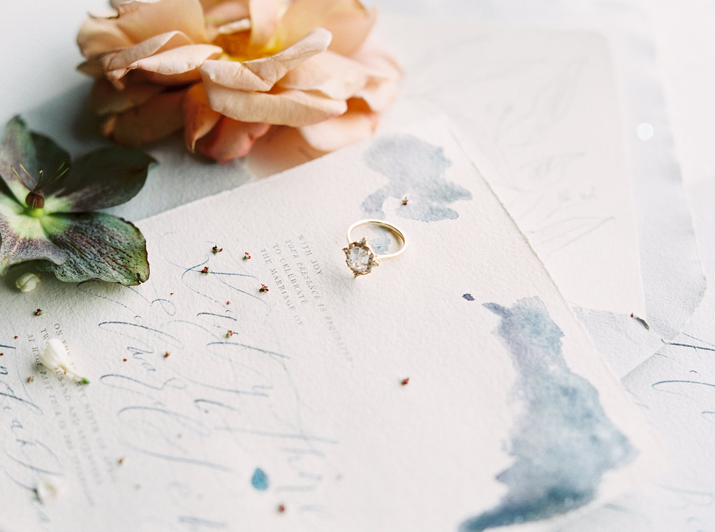 watercolor wedding stationery - photo by Be Light Photography http://ruffledblog.com/coastal-oregon-inspiration-with-a-show-stopping-wedding-gown