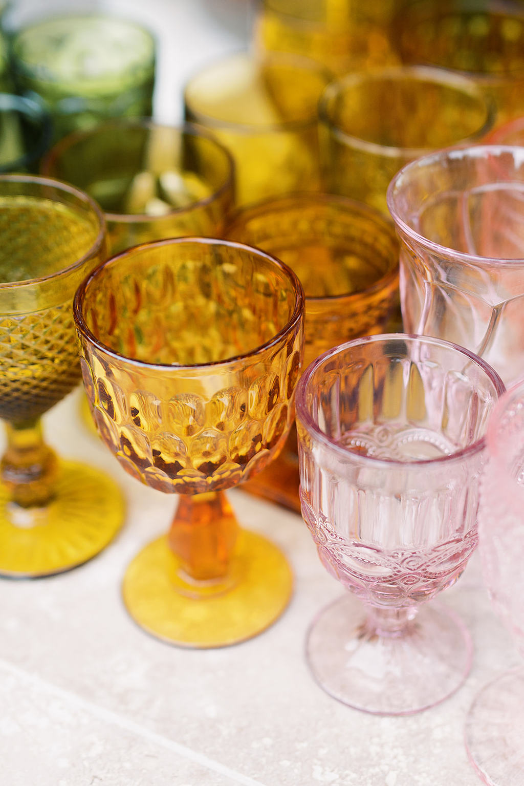 amber and pink glassware