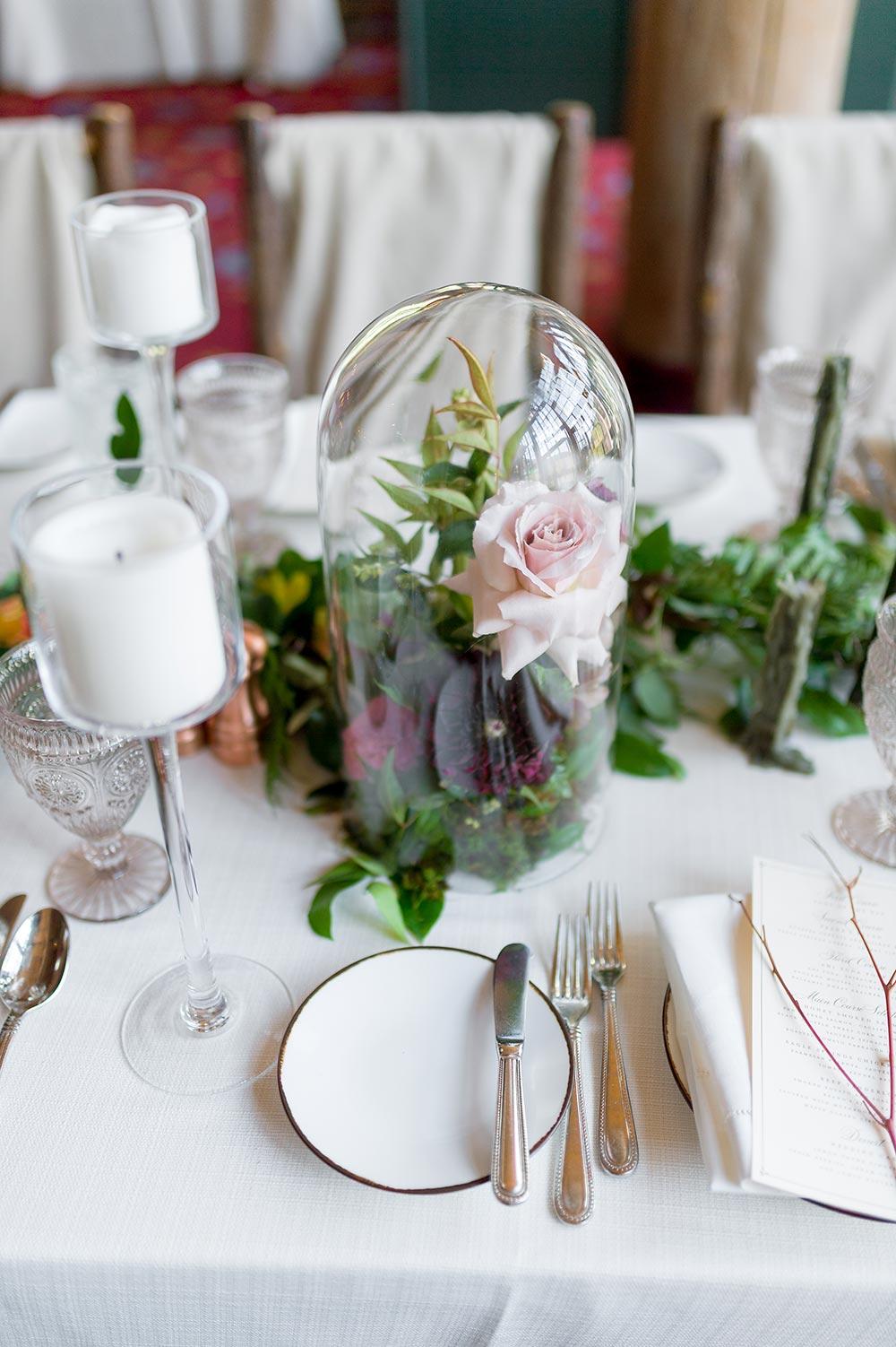 glass dome flower centerpieces wedding decor