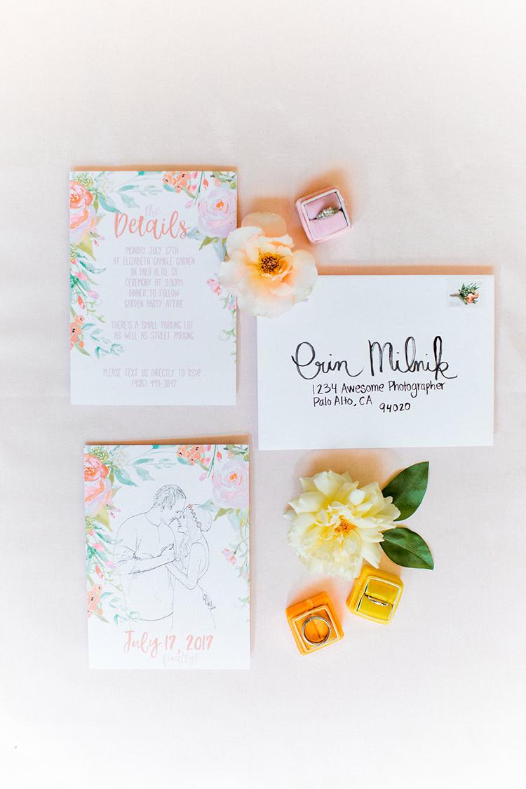 floral wedding printables - photo by Erin Milnik http://ruffledblog.com/colorful-monday-afternoon-garden-elopement