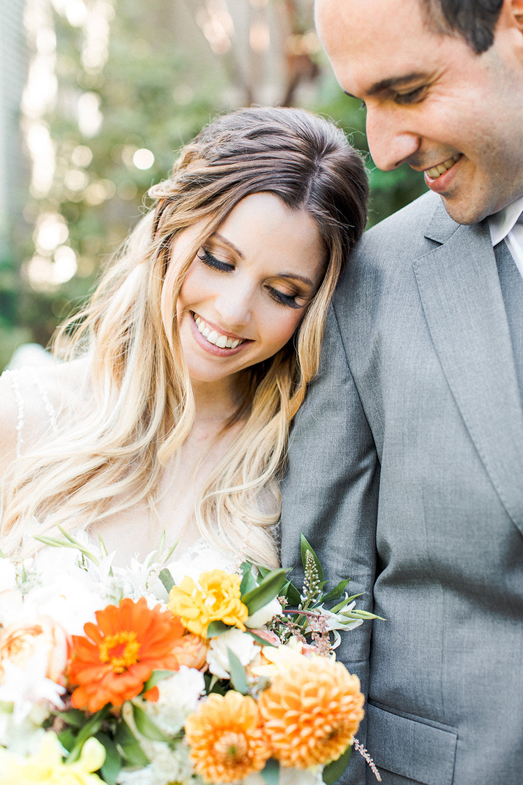 simple bridal beauty - photo by Erin Milnik https://ruffledblog.com/colorful-monday-afternoon-garden-elopement