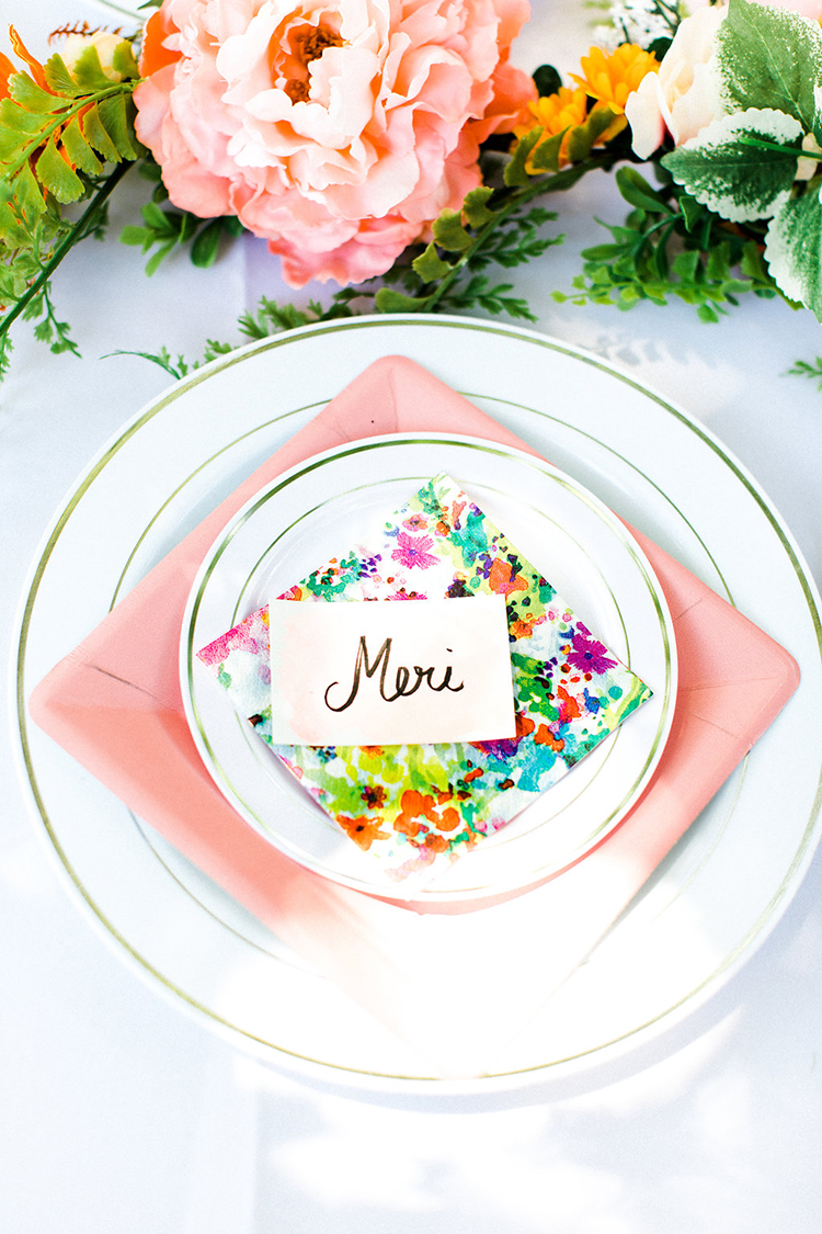 colorful wedding place settings - photo by Erin Milnik https://ruffledblog.com/colorful-monday-afternoon-garden-elopement