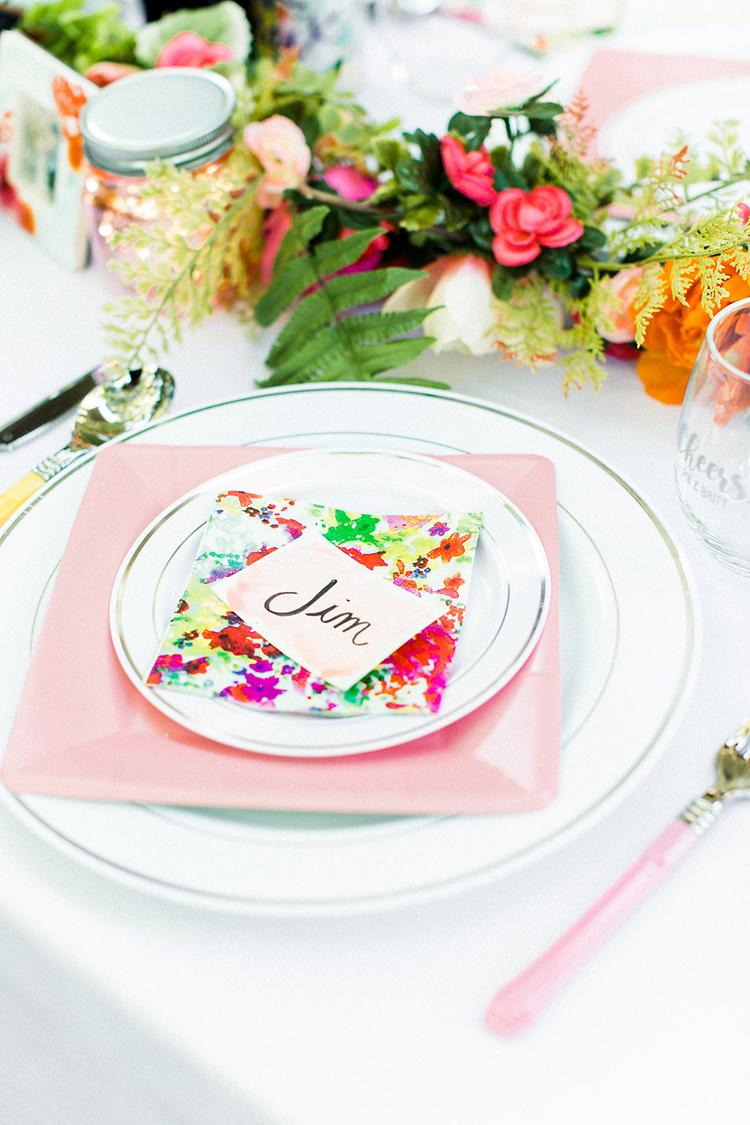 colorful spring weddings - photo by Erin Milnik https://ruffledblog.com/colorful-monday-afternoon-garden-elopement
