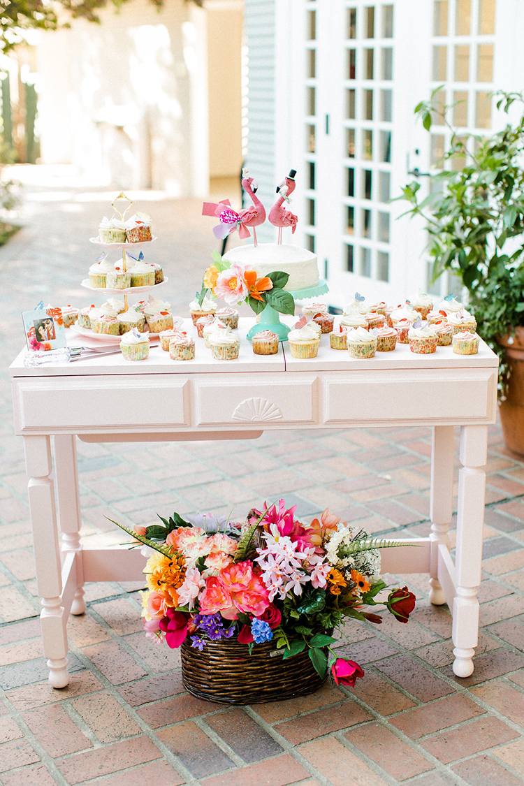 wedding dessert tables - photo by Erin Milnik https://ruffledblog.com/colorful-monday-afternoon-garden-elopement