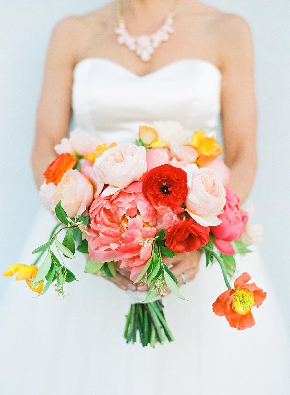 colorful pink bridal bouquet