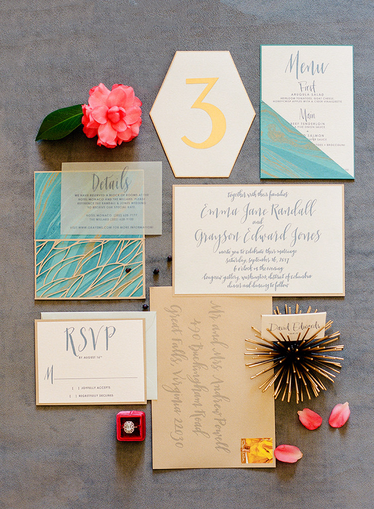 modern wedding invitations - photo by Lisa Blume Photography http://ruffledblog.com/runway-to-table-wedding-inspiration-with-bows