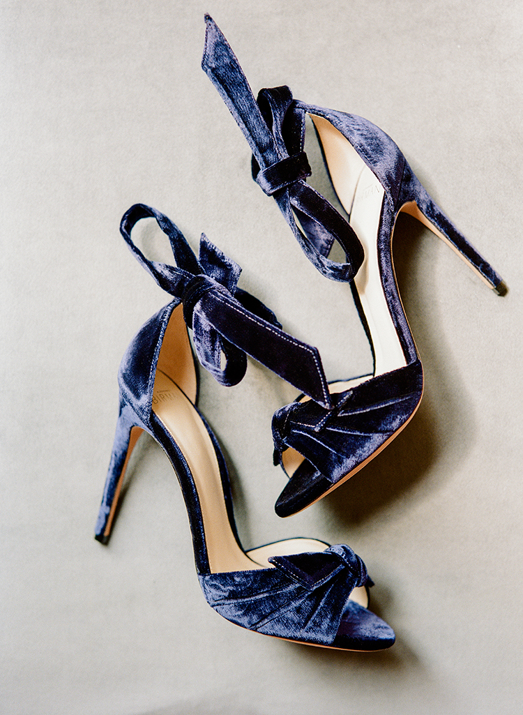 blue velvet wedding shoes - photo by Lisa Blume Photography http://ruffledblog.com/runway-to-table-wedding-inspiration-with-bows