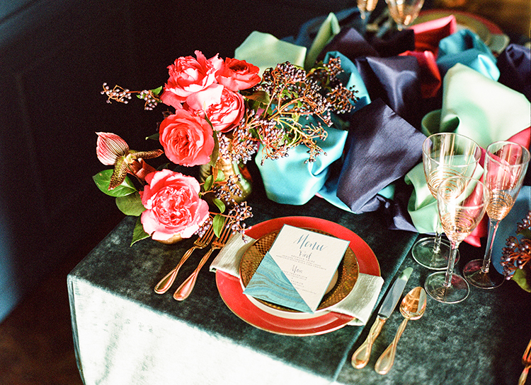 rich toned modern wedding ideas - photo by Lisa Blume Photography http://ruffledblog.com/runway-to-table-wedding-inspiration-with-bows