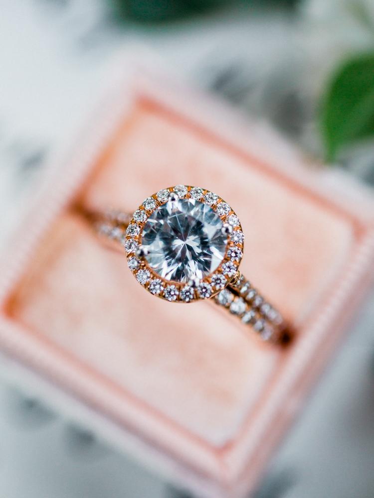 rose gold engagement rings - photo by Dennis Roy Coronel http://ruffledblog.com/copper-blue-rancho-las-lomas-wedding-inspiration
