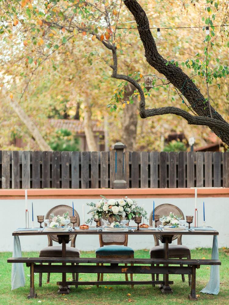 wedding reception tables - photo by Dennis Roy Coronel http://ruffledblog.com/copper-blue-rancho-las-lomas-wedding-inspiration