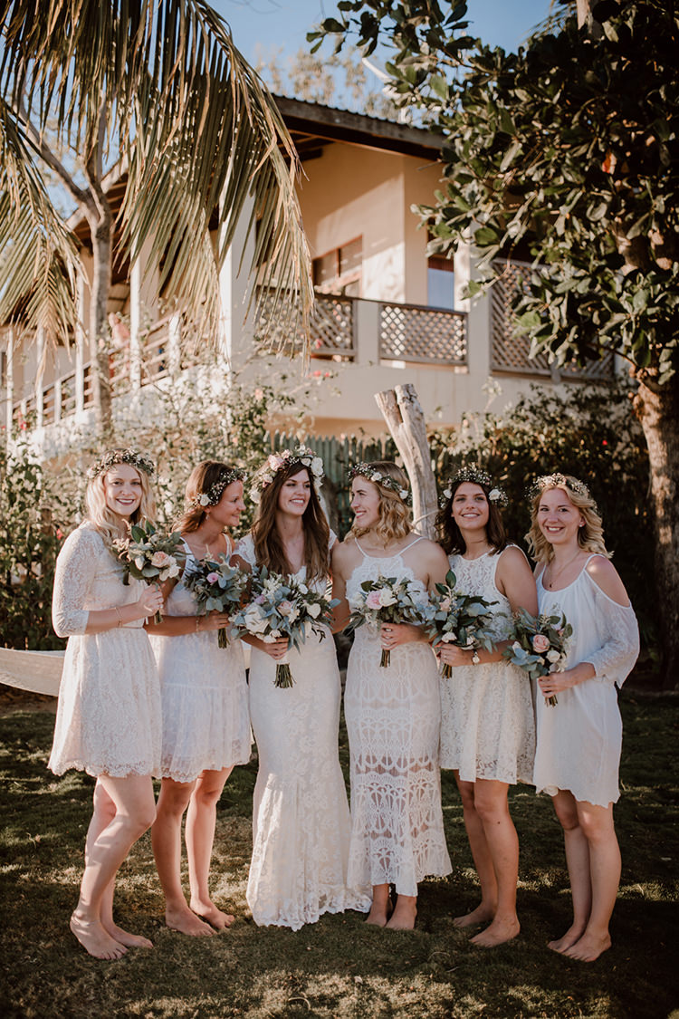 Costa Rica Beach Wedding with a Cute Bridesmaid First Look - https://ruffledblog.com/costa-rica-beach-wedding-with-a-cute-bridesmaid-first-look