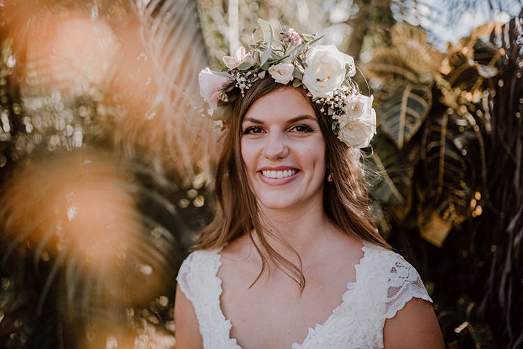 bridal flower crowns - https://ruffledblog.com/costa-rica-beach-wedding-with-a-cute-bridesmaid-first-look