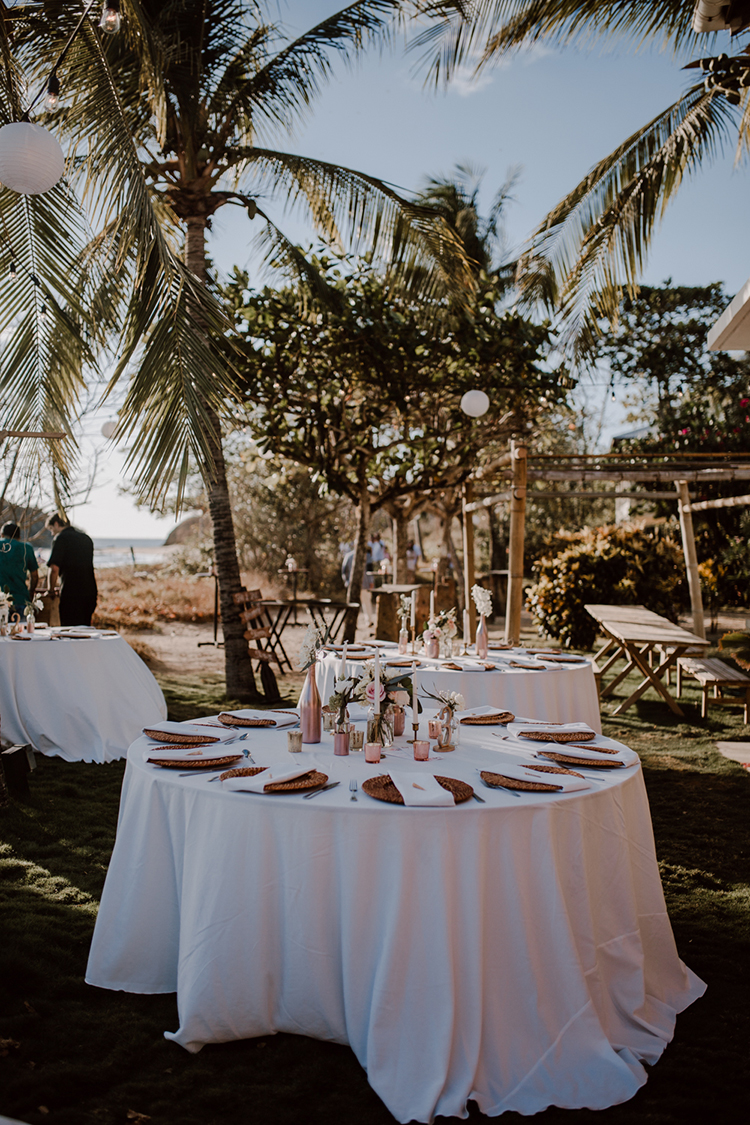 Costa Rican backyard weddings - https://ruffledblog.com/costa-rica-beach-wedding-with-a-cute-bridesmaid-first-look