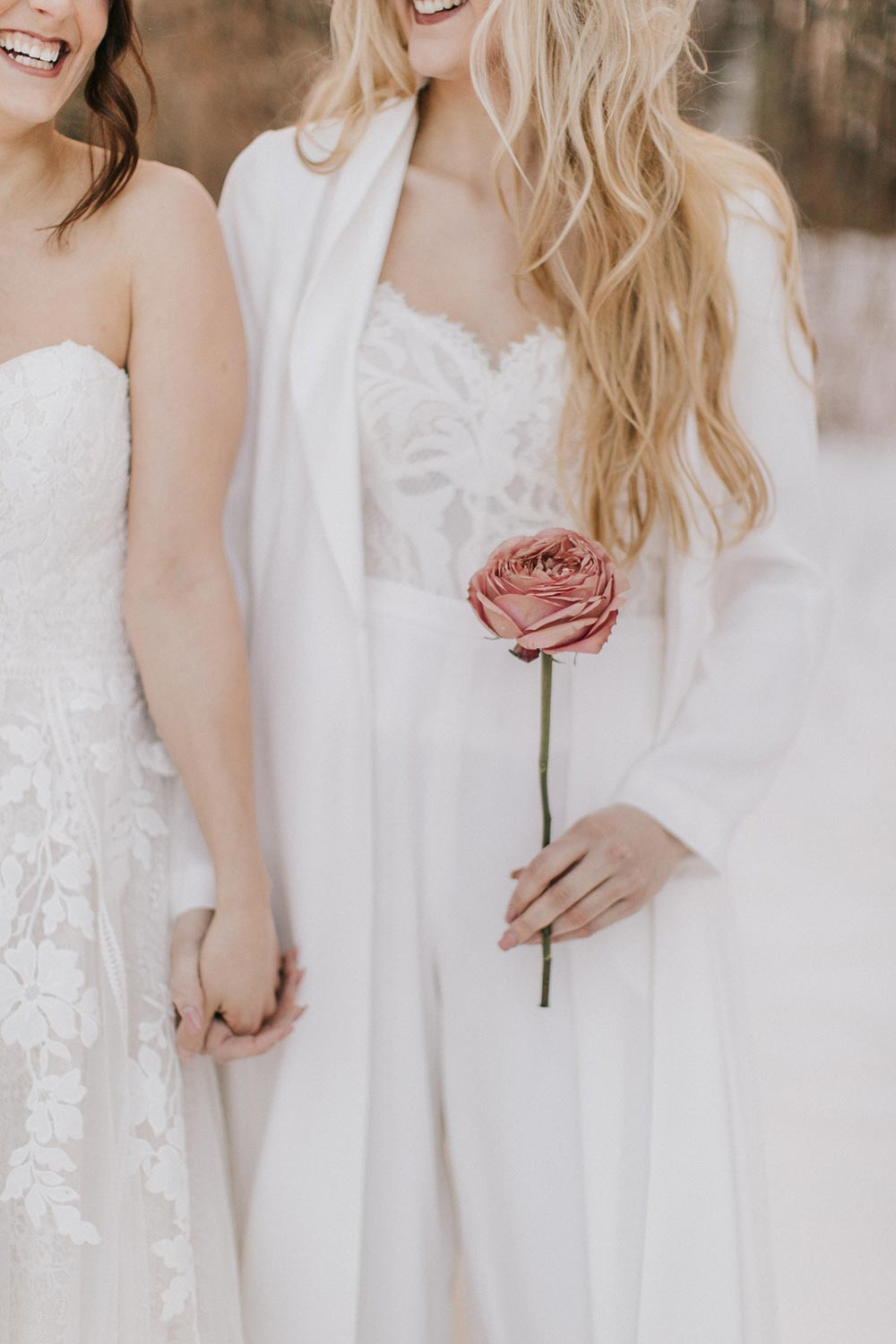 bridal pantsuit with strapless wedding dress