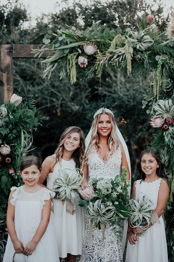 Harvest Moon Inspired Wedding with Crystals Galore #coastalweddingideas #proteabouquet #boholaceweddingdress
