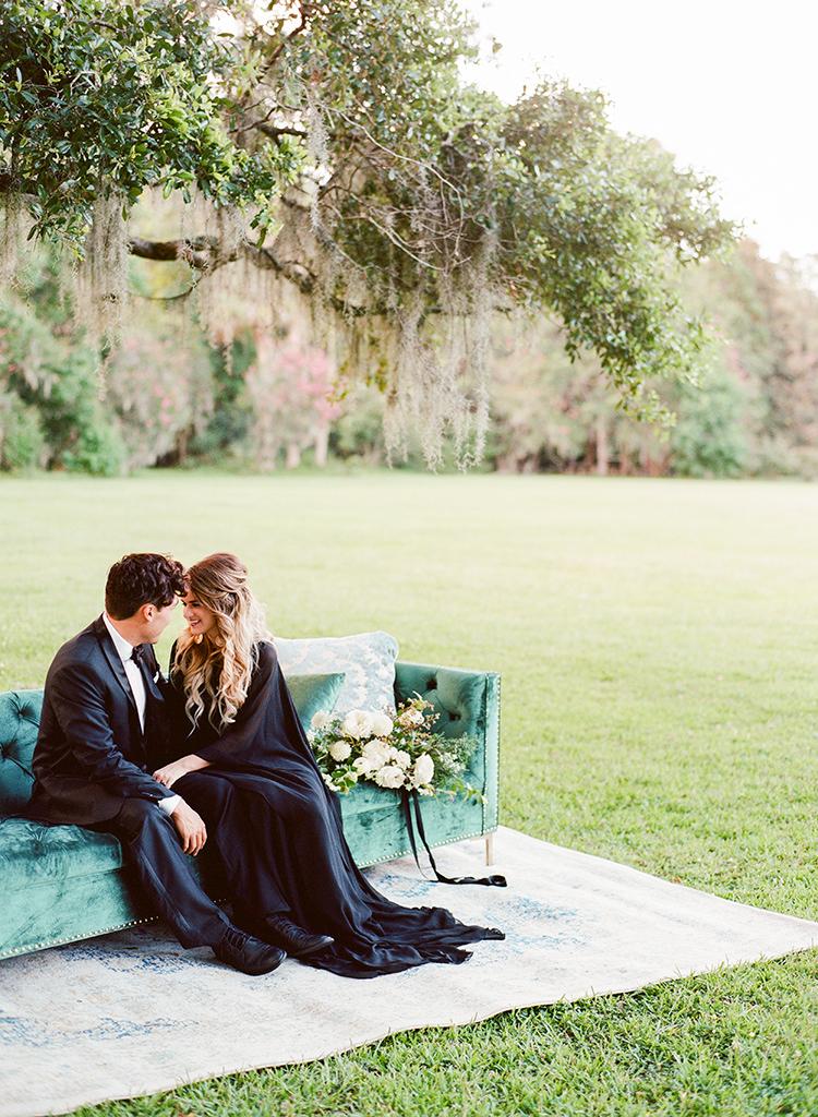 Dark and Stormy Magnolia Plantation Wedding Inspiration - http://ruffledblog.com/dark-and-stormy-magnolia-plantation-wedding-inspiration