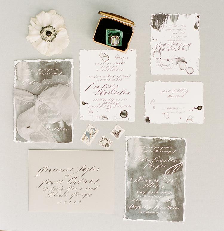 dark and moody wedding invitations - http://ruffledblog.com/dark-and-stormy-magnolia-plantation-wedding-inspiration